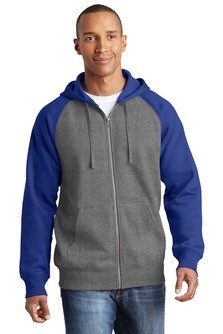 Sport-Tek Raglan Colorblock Full-Zip Hooded Fleece Jacket Embroidery