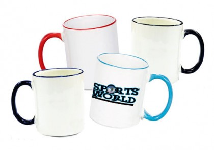 Colored Rim and Handle Mug - 11oz