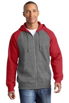 Sport-Tek Raglan Colorblock Full-Zip Hooded Fleece Jacket