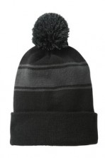 Sport-Tek Stripe Pom Pom Embroidered Beanie