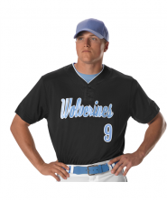 Adult Two Button Mesh Baseball Jersey With Piping