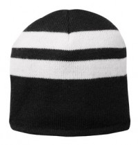 Port & Company Fleece-Lined Striped Embroidered Beanie Cap