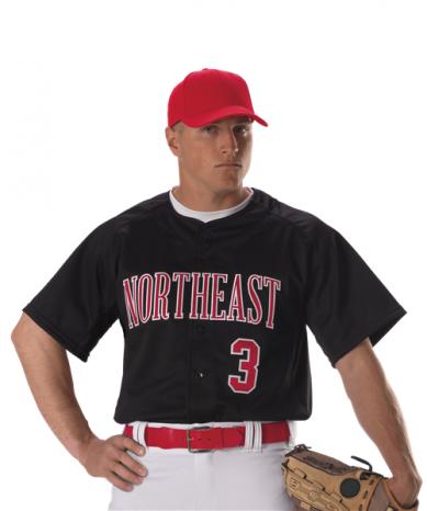 Youth Warp Knit Full Button Front Baseball Jersey